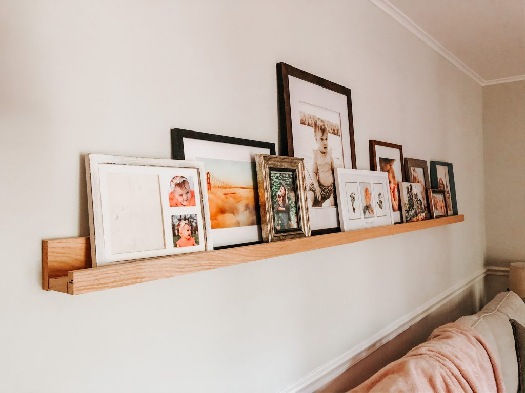 eclectic DIY picture ledge